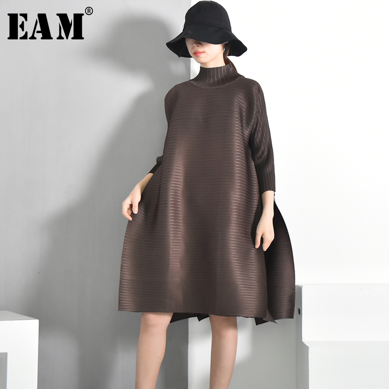 [EAM] 2020 Spring  Summer New Fashion  Turtleneck Solid Color Loose Fold Stitch Knee-length Vintage Dress Women Fashion  EB0
