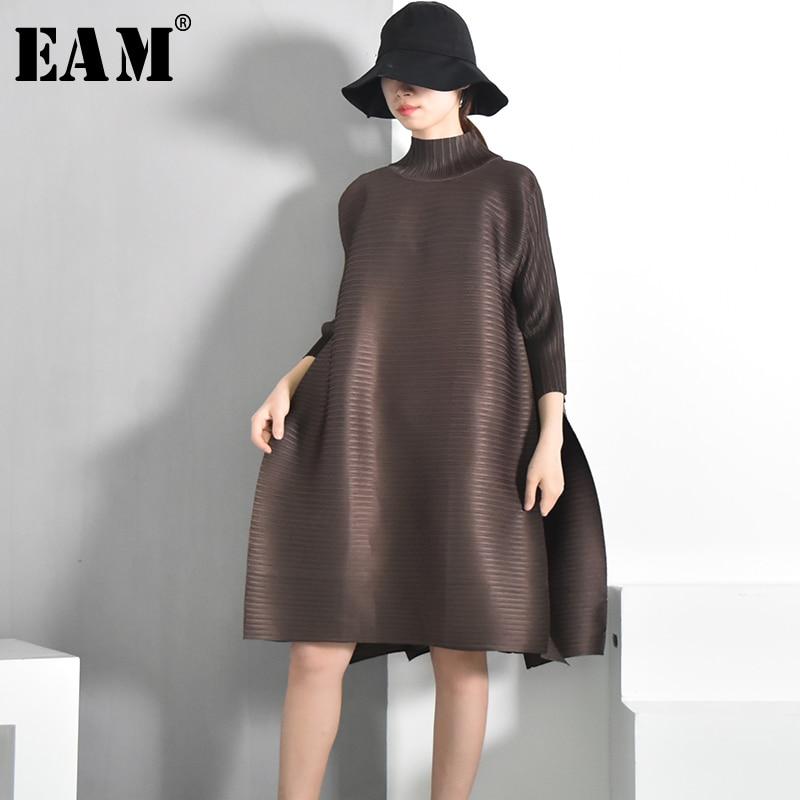 [EAM] 2020 Spring  Summer New Fashion  Turtleneck Solid Color Loose Fold Stitch Knee-length Vintage Dress Women Fashion  EB0
