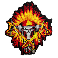 Iron Patches For Clothing Customized Indian Biker Patch Motorcycle Embroidered Iron On Back Of Jacket Patch White Twill Fabric