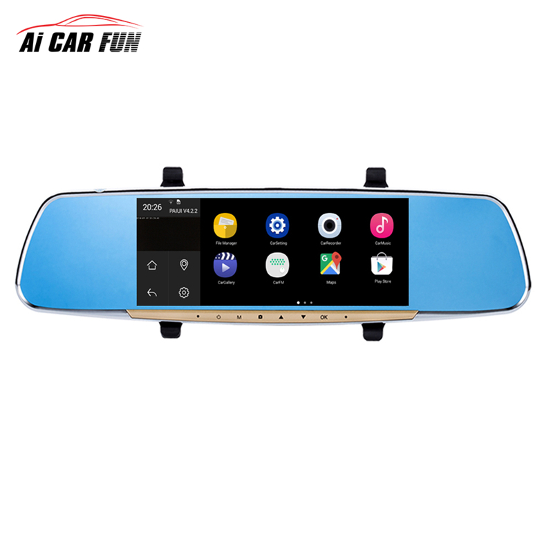 RM-LZ7200 7 Inch Touch Screen Car Rearview Mirror Monitor With GPS DVR FM Transmitter For Android4.4 Quad Core 1G DDR3 16G Flash ultra thin 7 touch screen lcd wince 6 0 gps navigator w fm internal 4gb america map light blue