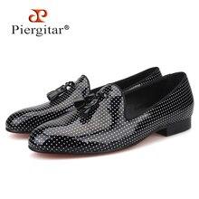 Piergitar 2019 Black Colors Patent Leather men tassel casual shoes Plus Size Men's Loafers Party and Wedding Men dress shoes