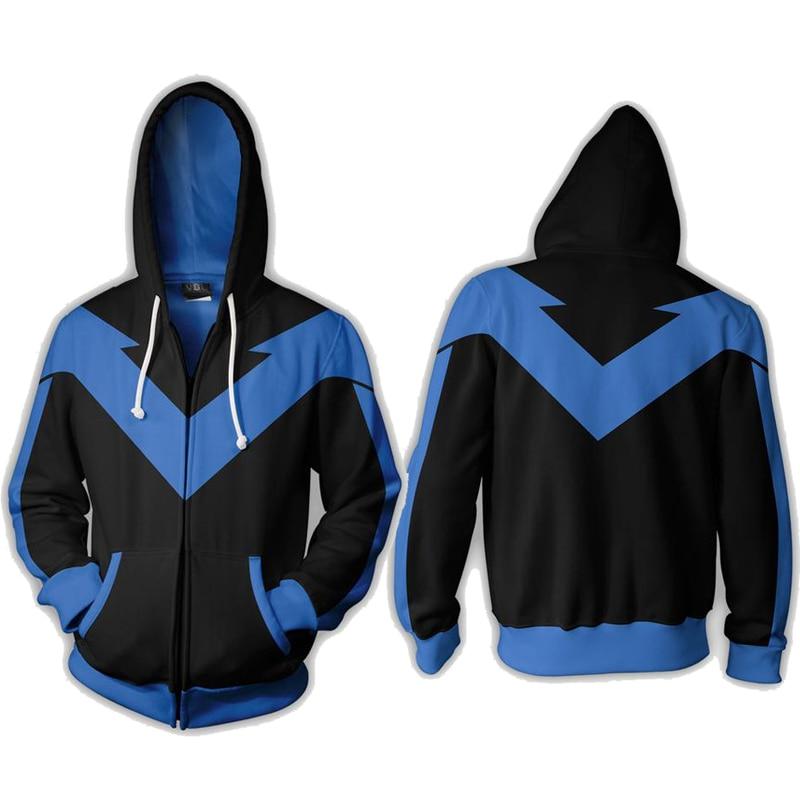 2018 New Nightwing Hoodie Cosplay 3D Print Long Sleeve Jackets Full Zip Cool Pullover Coat  Unisex Jumper Sweatshirts