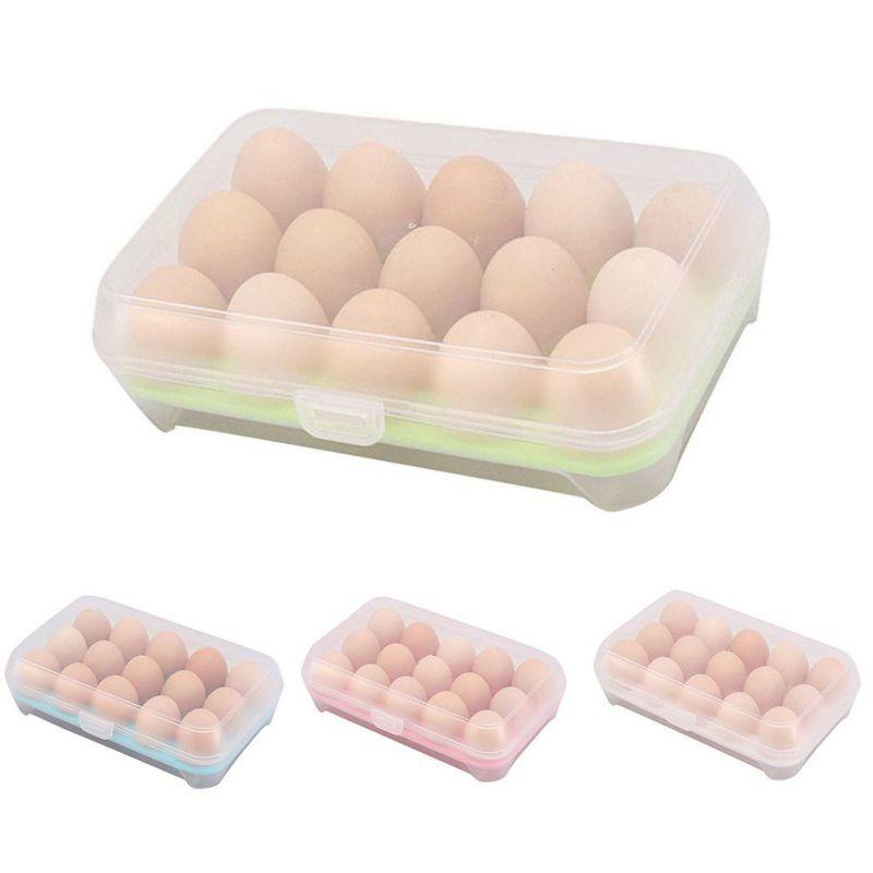 Nueva llegada Útil Refrigerador de huevos Caja fresca 15 células - Organización y almacenamiento en la casa