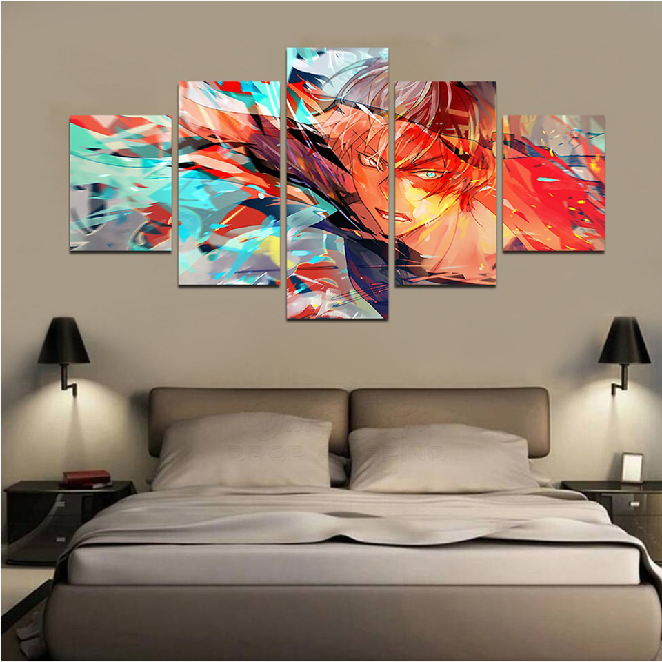 Home Decor Canvas Painting Pictures 5 Pieces My Hero Academia Wall Art Modern Prints Modular Animation Poster For Living Room