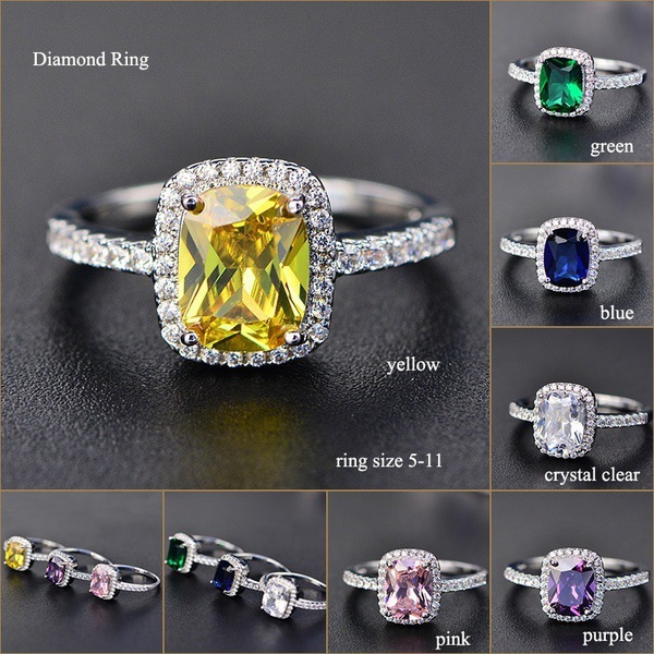 Classic Colorful Big Stone Rings for Women Romantic Wedding Ring Silver Jewelry Accessories European American High Quality in Wedding Bands from Jewelry Accessories