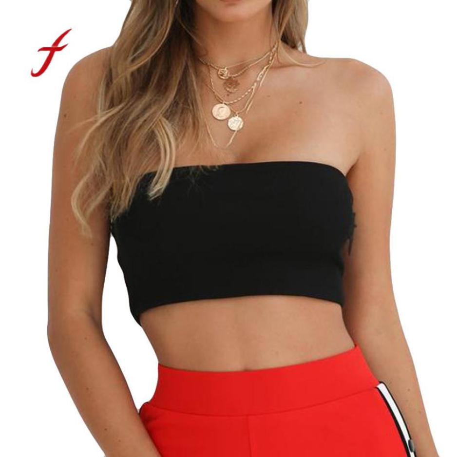 Bodycon strapless black tube top women sexy off shoulder cotton bandeau ladies backless summer crop tops