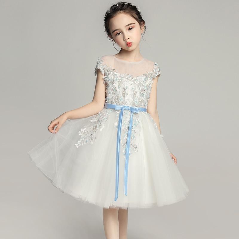 Broderie fleur fille robes pour mariage mignon Bowknot Princes robe de bal robe de bal enfants robe de reconstitution historique pour Costume d'anniversaire