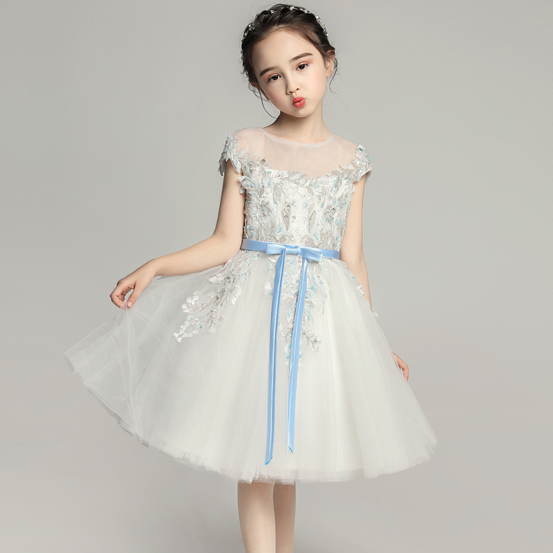 Embroidery Flower Girl Dresses for Wedding Cute Bowknot Princes Prom Dress Ball Gown Kids Pageant Dress for Birthday Costume purple bowknot medieval dress renaissance gown sissi princess costume victorian gothic marie antoinette colonial belle ball