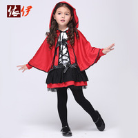 Free shipping Europe and the United States Halloween costumes for girls Christmas New Year paragraph girls dress red devil