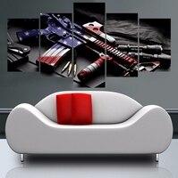 Arte Abstrata Emoldurado Emoldurado Grande Arma com Bandeira Americana da lona decoração 5 peças