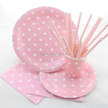 Envío Gratis 255 piezas bebé Color rosa juego de vajilla de fiesta decoración de paja de papel, placa de papel de taza de papel servilleta de papel