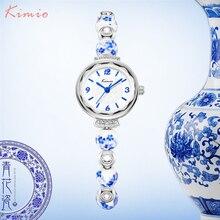 KIMIO Ретро действительно китайская Керамика часы синего и белого фарфора благоприятный узор Браслеты Для женщин часы Элитный бренд
