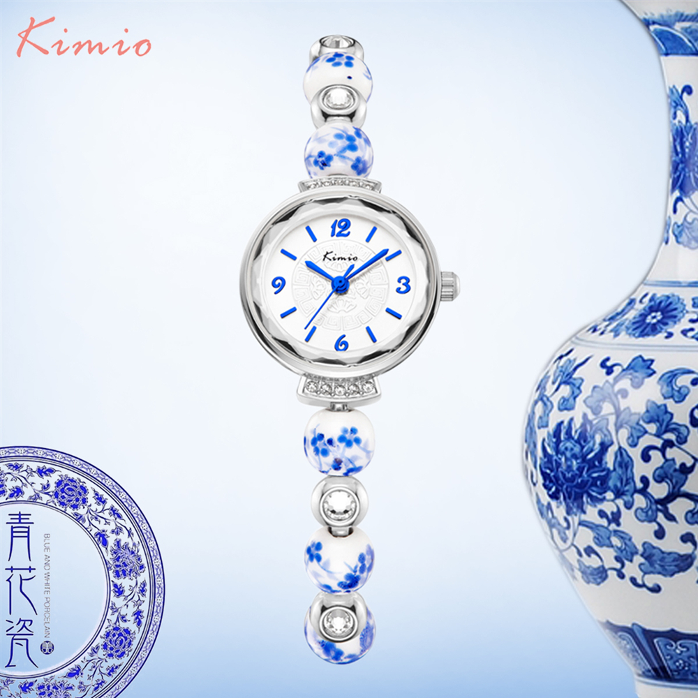 KIMIO Retro realmente chino reloj de cerámica azul y blanco porcelana China auspicioso pulseras relojes mujer marca de lujo