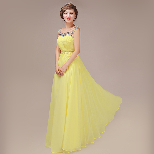 2017 Elegant Long Prom Dress Yellow Green Blue Red Purple Violet