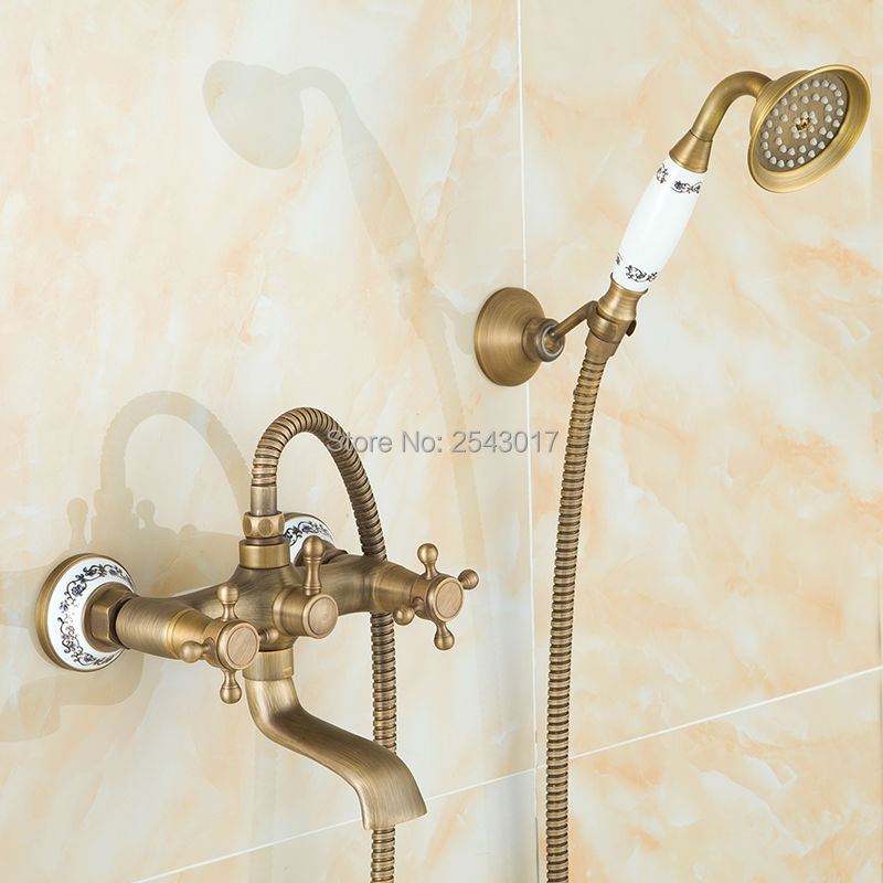 цена на Ceramic Shower Faucet Bathroom Wall Mounted Telephone Type Antique Bronze Shower Set with Hand Shower Swivel Spout ZR009