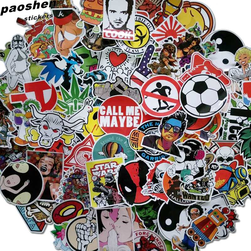100Pcs Waterproof Mixed Stickers Will Not Repeated Stickers For Laptop Skateboard Luggage Bicycle Motorcyle Car Bathroom Guitar