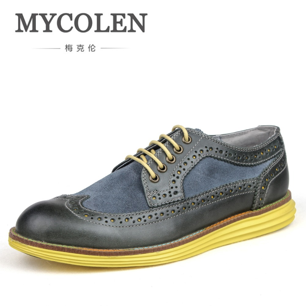 MYCOLEN Handmade Men Casual Shoes Luxury Designers British Style Men Brogue Shoes Breathable Solid Lace-Up Men Flats Shoes декоративная лампа накаливания loft it 6440 ct