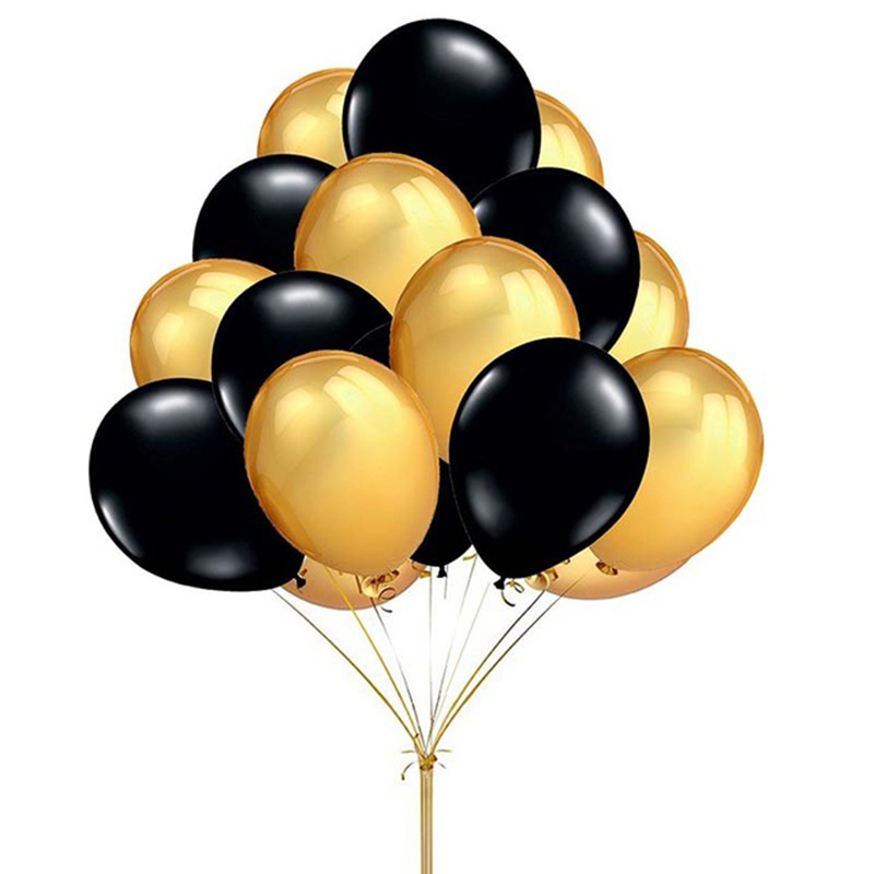 20pcs Gold Black Latex Balloons For Birthday Party Decorations And Baby Shower 10
