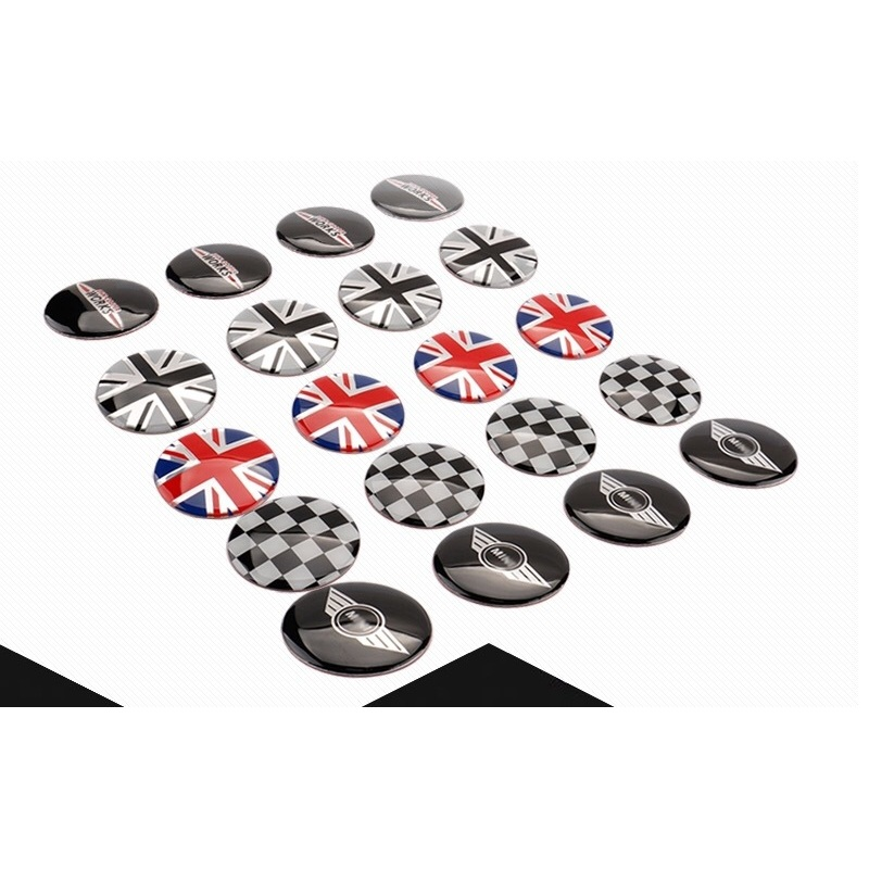 4pcs/set 52mm Wheel Center Cover stickers Mini Cooper S one JCW clubman countryman R50 R52 R55 R56 R57 R58 R59 R60 car-styling sun protection cool hat car logo for mini cooper s r53 r56 r60 f55 f56 r55 f60 clubman countryman roadster paceman car styling