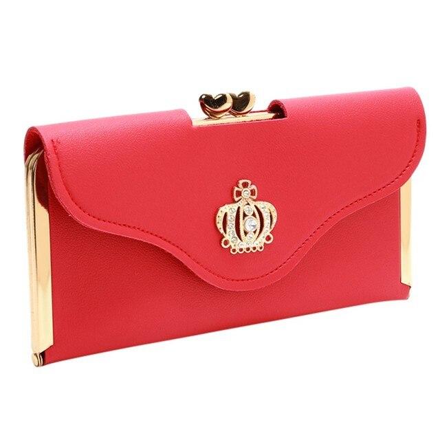 Cartera larga para mujer monederos bolso de mano de moda Crown Diamond bolsa de teléfono móvil bolsos de noche largos para damas carteras pequeñas # l5 $