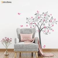 นกดอกไม้ศิลปะไวนิลต้นไม้สติ๊กเกอร์ติดผนังสำหรับห้องเด็กตกแต่งบ้านDIY