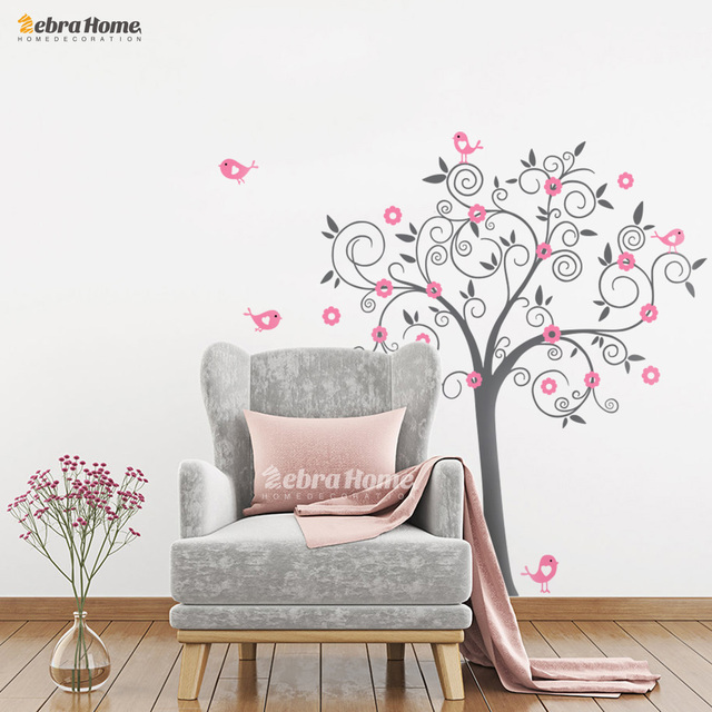 Birds flowers art vinyl tree wall stickers for kids room for Christmas wall mural plastic