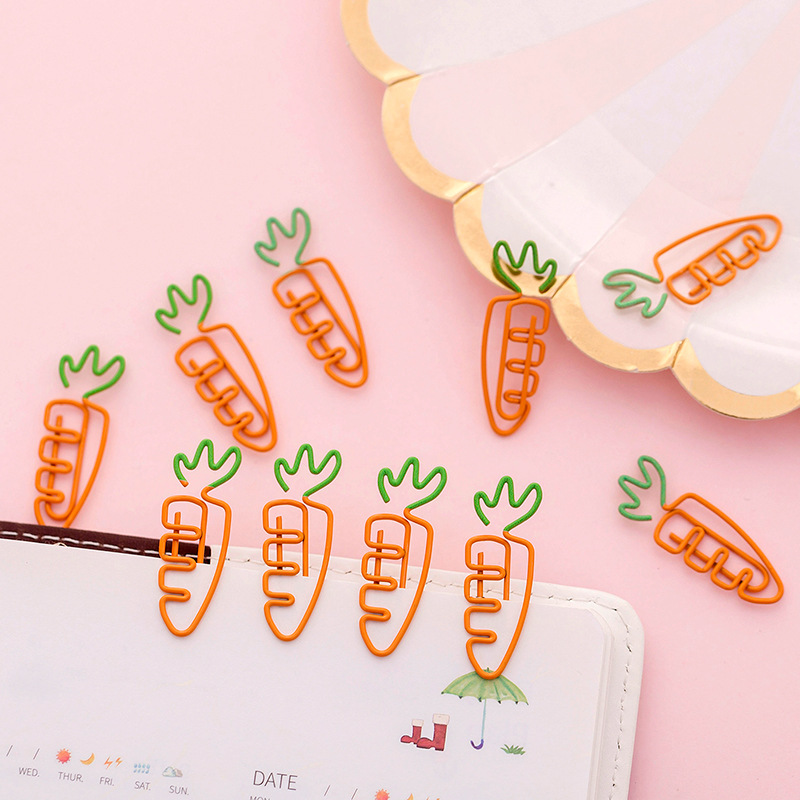 5 Pcs/lot Creative Kawaii Carrot Shaped Metal Paper Clip Bookmark Stationery School Office Supply