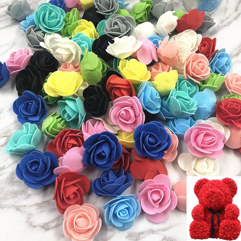 100 шт.! 3,5 см пенополиэтилен искусственные головки цветов моделирование искусственный цветок роза для свадебного автомобиля вечерние свадебные туфли Шапки украшения