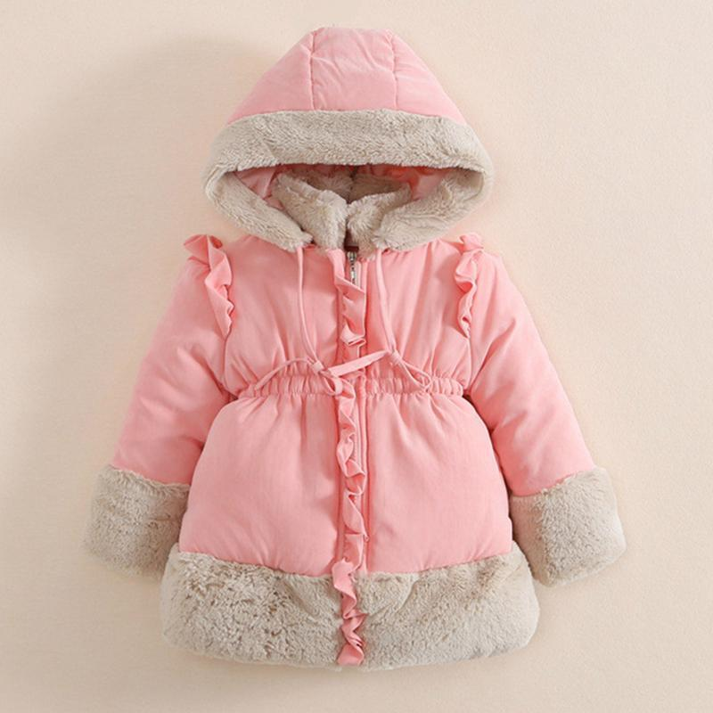 ФОТО 2017 fashion  Winter Embroidered Hooded Fur Collar Down Jacket Baby Girl Down Kids Jacket Cotton Parka outwear 1-6  years