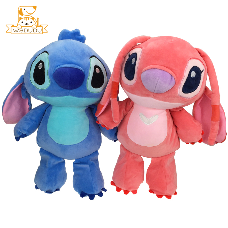 Standing Stitch Angel Couple Gifts Plush Stuffed Toys Cute Monster Cartoon Figure Blue Adorable Anime Soft Dolls Children 42cm
