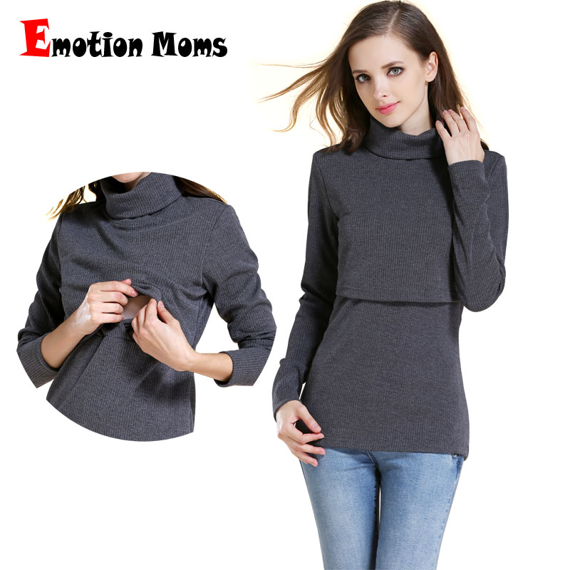 Emotion Moms Winter Turtleneck Warm Long Sleeve Cotton Maternity T-shirt Nursing Tops Breastfeeding Clothes For Pregnant Women