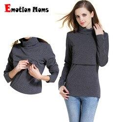 Emotion Moms invierno cuello alto cálido de manga larga de algodón maternidad camiseta Tops de lactancia ropa para mujeres embarazadas