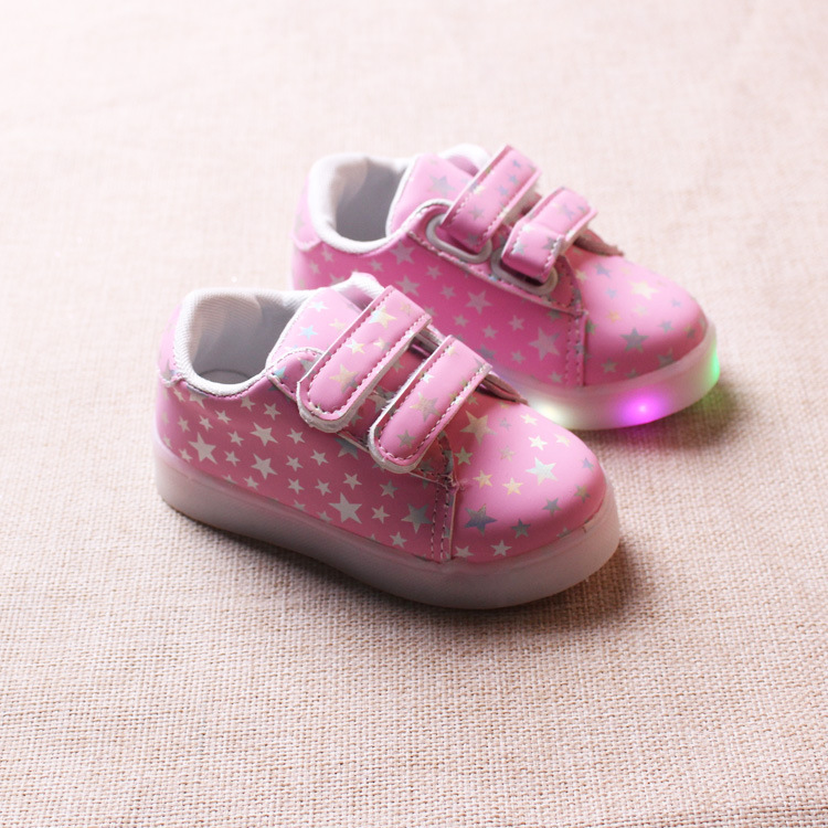 childrens small stars dotted kids Casual shoes for boys and girls colorful luminous shoes LED flash babys anti-skid shoes