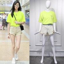 2019 Spring Star Supermodel Xi Mengyao Airport Same Fluorescent Green Alphabet Round Collar T-shirt O-Neck Womens Shirts