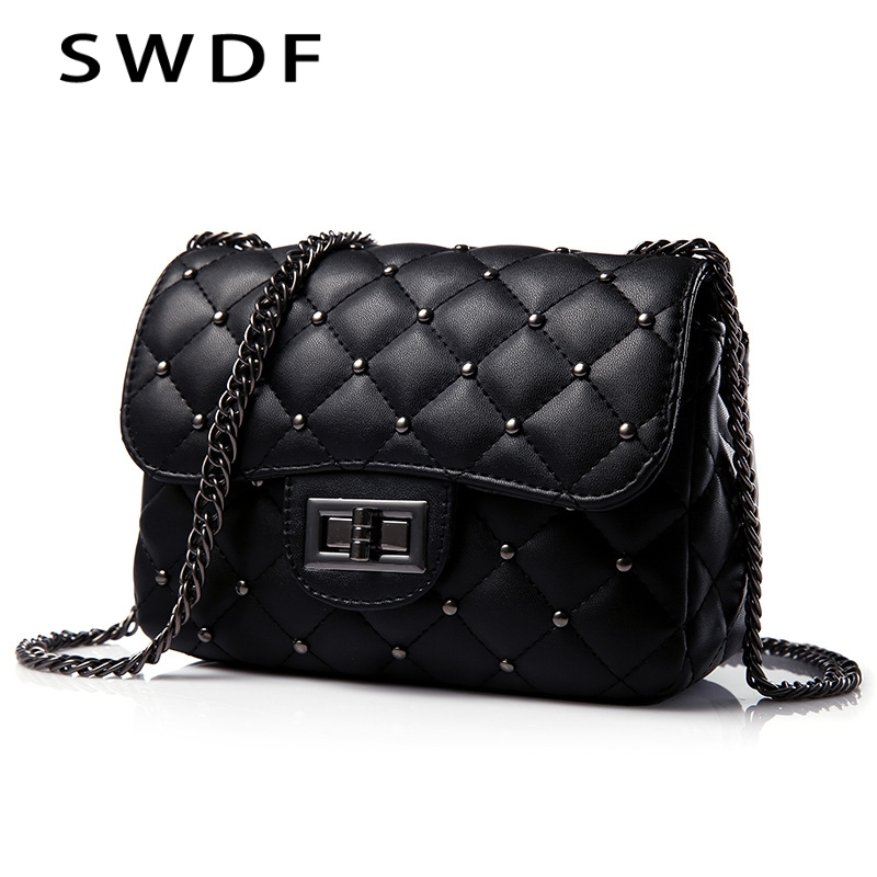 Spring New Vintage Rivet Small Square Crossbody Bags Mini Women Handbag Lock Pu Leather Chain Shoulder Bag Woman Messeng Bags