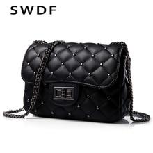 Spring New Vintage Rivet Small Square Crossbody Bags Mini Women Handbag Lock Pu Leather Chain Shoulder Bag Woman Messeng
