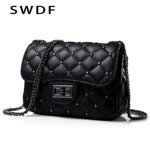 Spring New Vintage Rivet Small Square Crossbody Bags Mini Women Handbag Lock Pu Leather Chain Shoulder Bag Woman Messeng Bags