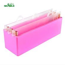 Nicole Silicone Soap Mold Rectangular Loaf Toast Swirl Soap Making Tool Mould with Transparent Vertical Acrylic Clapboard clear soap mold transparent toast mould layer multiple handmade soap mold layered handmade soap kit swirl square soap making set