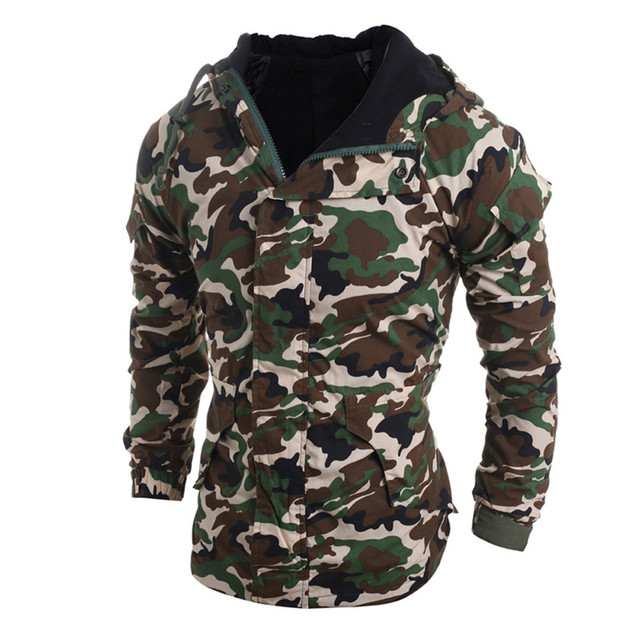 Best Price Men Autumn Winter Camouflage Wind Men Hooded Coat Blouse