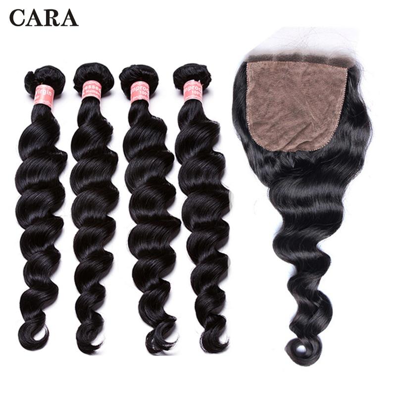 Silk Base Closure With Bundles Loose Wave Brazilian Virgin Human Hair 4Pcs Hair Extension Add 4x4 Silk Base lace Closure CARA