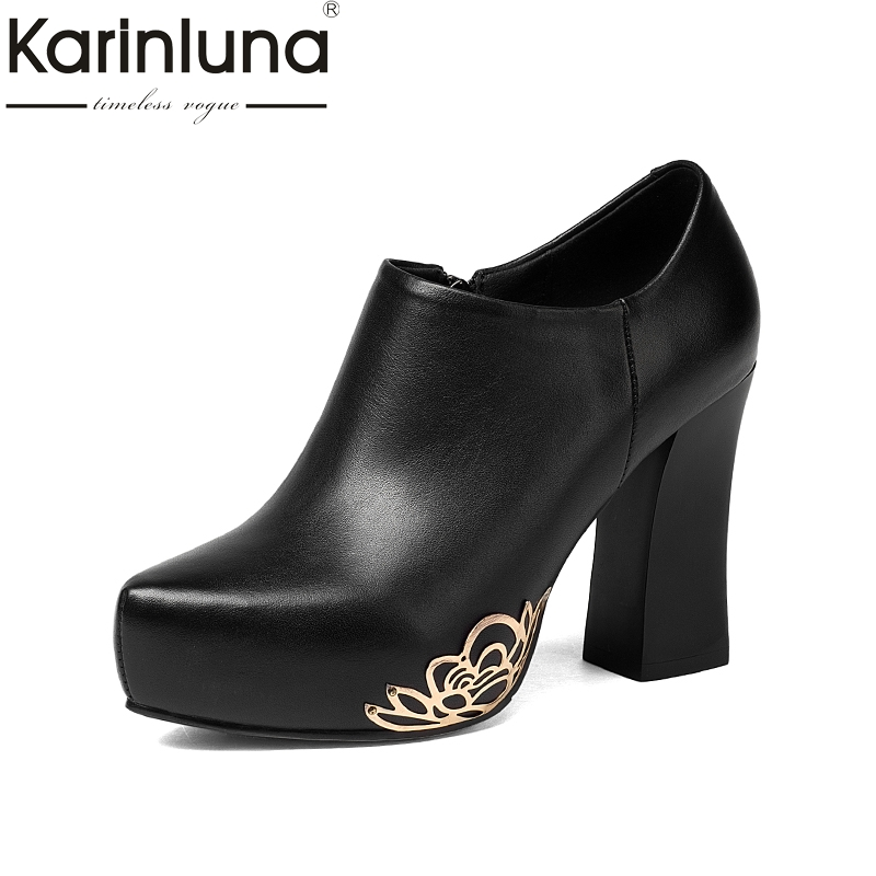 KARINLUNA 2017 Large Size 33-43 Genuine Leather Women Shoes Woman Sexy Platform High Heels Zip Up Party Wedding Pumps 2016 new fashion women pumps sexy high heels zip full genuine leather shoes woman platform ladies wedding shoes drop shipping