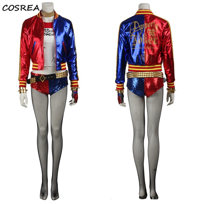 Batman Movie Suicide Squad Harley Quinn Cosplay Costumes Hero Suit Halloween Carnival Party adult women suit Full Set Customize