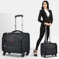 Neue Business Oxford Roll Gepäck Rollen 18 zoll Männer Multifunktions Tragen Auf Rädern Koffer Trolley Tasche vs Reisetasche Stamm