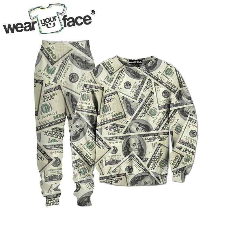 US Dollars Collage 3D All Over Printed Crewneck Sweatshirts Sweatpants Tracksuits Streetwear Kid Women Men Sets US Size Dropship