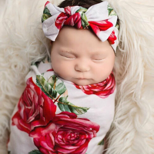 2pcs Newborn Baby Floral Swaddle Wrap Swaddling Sleeping Bag Blanket Headband Set