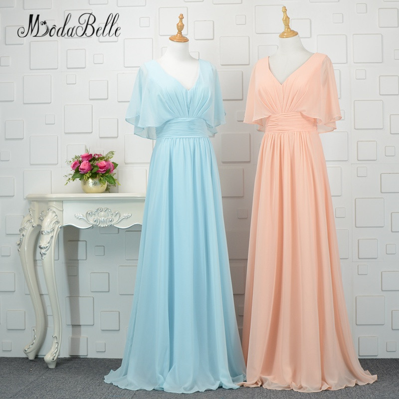 modabelle Peach/Blue   Bridesmaid     Dresses   For Wedding 2018 Chiffon Burgundy Abiti Damigella D'onore Cheap Women Long Party Gown
