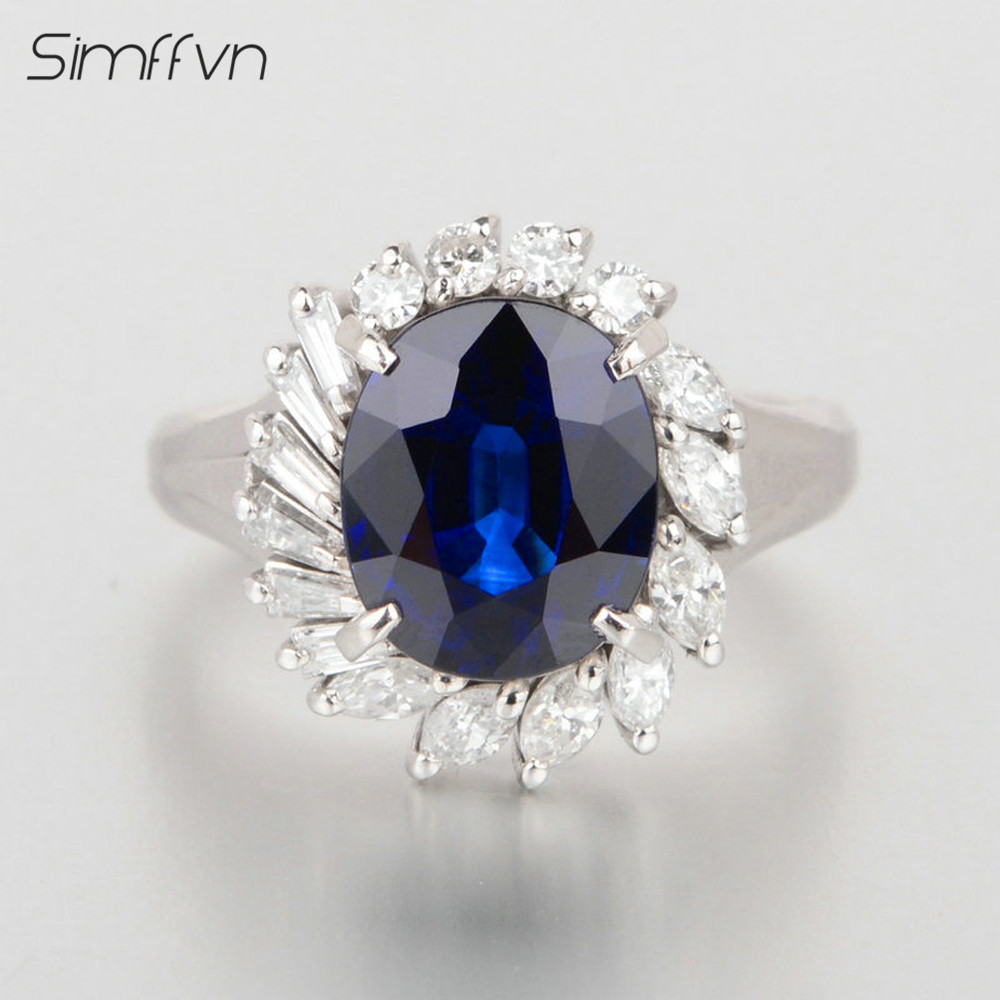 Romantic Halo 3.01Ct Sapphire Gemstone Ring Oval Cut Natural Diamond Band Stamped By 18K White Gold Engagement Rind For Women