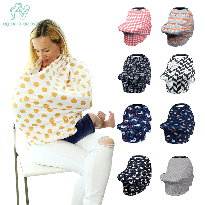 Baby Car Seat Cover - Multi Use Nursing Cover Pattern - Ideal Grocery Cart Cover and Stretchy Canopy Covers- Perfect Baby Gift