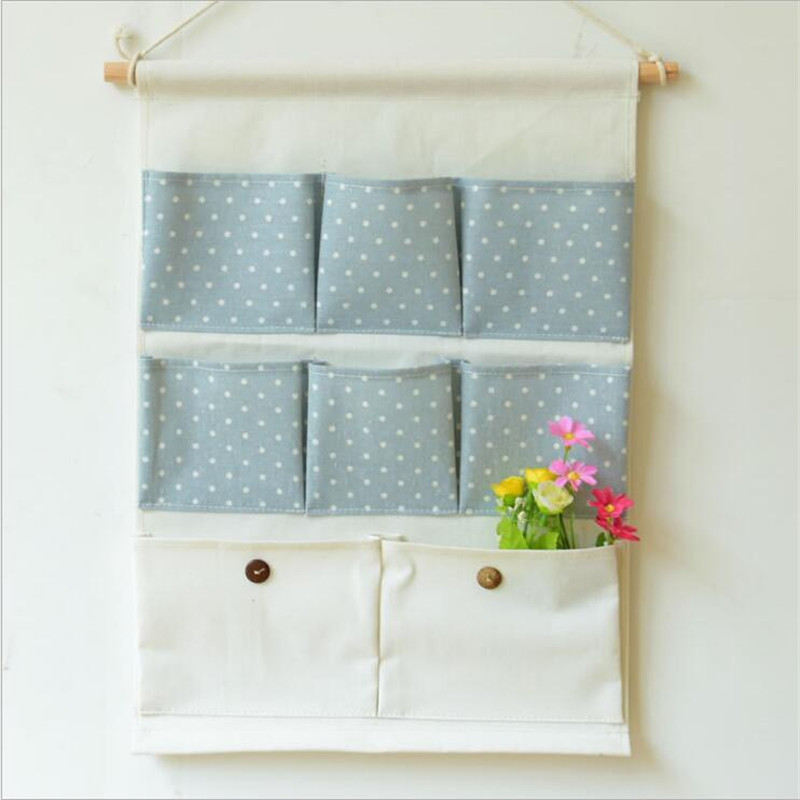 cotton cartoon storage bags 8 pocket wall hanging bags multilayer fabric debris storage organizer pastoral for door allda108