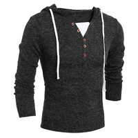 Autumn Winter Men Fashion Casual V Neck Button Long Sleeve Sweater Solid Color Slim Knitting Hooded